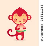 cute flat monkey in vector.... | Shutterstock .eps vector #365111366