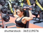 young woman flexing muscles... | Shutterstock . vector #365119076