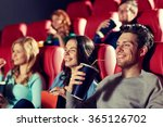 happy friends watching movie in ... | Shutterstock . vector #365126702
