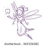 cute little happy fairy girl... | Shutterstock .eps vector #365156282