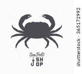 Crab Silhouette. Seafood Shop...