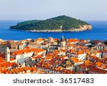 Town Dubrovnik And Island In...