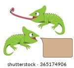 lizard eating insect in flat... | Shutterstock .eps vector #365174906