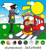 bus and traffic lights on the... | Shutterstock . vector #365196485