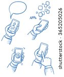 set of hands with mobile phone. ... | Shutterstock .eps vector #365205026