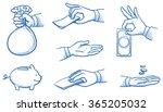 set of hands holding money ... | Shutterstock .eps vector #365205032