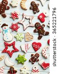 christmas cookies on a blue... | Shutterstock . vector #365221796