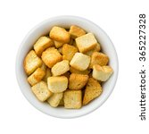 croutons in a ceramic bowl. the ... | Shutterstock . vector #365227328
