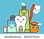 best friends of healthy tooth.... | Shutterstock .eps vector #365227616