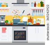 home cooking vector flat...   Shutterstock .eps vector #365242922