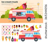 ice cream truck vector flat... | Shutterstock .eps vector #365244056