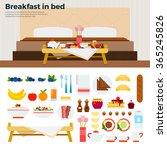 breakfast in bed vector flat... | Shutterstock .eps vector #365245826