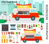 food truck vector flat... | Shutterstock .eps vector #365246036