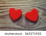 Two Red Heart  On A Wooden Old...