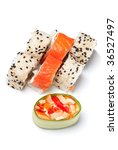 Some sushi rolls on the white background - stock photo