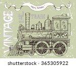 happy birthday card with retro... | Shutterstock .eps vector #365305922
