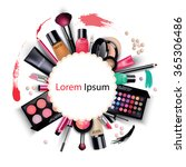 sets of cosmetics on isolated... | Shutterstock .eps vector #365306486
