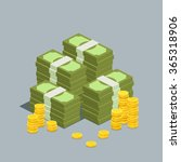 concept of big money. big pile... | Shutterstock .eps vector #365318906