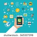 smartphone functions design... | Shutterstock .eps vector #365337398