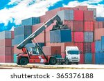 crane lifting up container in... | Shutterstock . vector #365376188