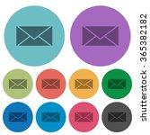 color envelope flat icon set on ...