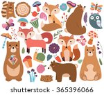 woodland forest animals and... | Shutterstock .eps vector #365396066