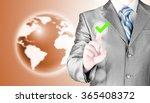 business man touching  pressing ... | Shutterstock . vector #365408372