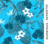 tropical flowers and leaves on... | Shutterstock .eps vector #365409755