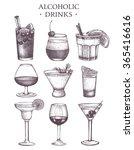 Vector Set Of Vintage Alcoholi...