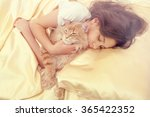 Sleeping Girl With Cat In Retr...