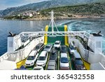Car Ferry Boat With Rows Of...