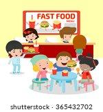 happy kids eating a hamburger... | Shutterstock .eps vector #365432702