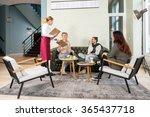 full length of waitress... | Shutterstock . vector #365437718