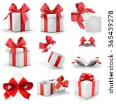 red gift box set 3d rendering  | Shutterstock . vector #365439278