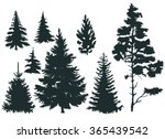 Vector Set With Pine Trees...