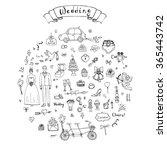hand drawn doodle wedding... | Shutterstock .eps vector #365443742