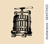 wine press illustration. vector ... | Shutterstock .eps vector #365472422