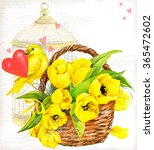 Bird And Flower Watercolor....