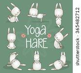 Cute Hare Yoga. Vector...