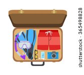 open suitcase with clothes for... | Shutterstock .eps vector #365498828