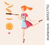 Girl Tosses Pancakes On A...