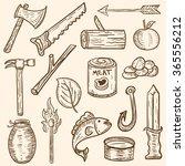 rough hand drawn camping summer ... | Shutterstock .eps vector #365556212