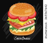 burger ingredients and burger... | Shutterstock .eps vector #365567642