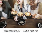 women friends enjoyment coffee... | Shutterstock . vector #365573672