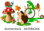 urchin  snail and frog walking... | Shutterstock .eps vector #365586266