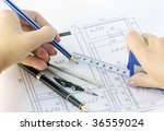arms measure and draw a plan of ... | Shutterstock . vector #36559024