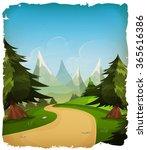 cartoon mountains landscape... | Shutterstock .eps vector #365616386