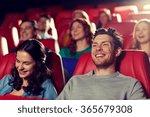 happy friends watching movie in ... | Shutterstock . vector #365679308