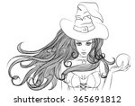 young witch with a magic ball... | Shutterstock .eps vector #365691812
