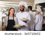smiling waitress and crew of... | Shutterstock . vector #365710652